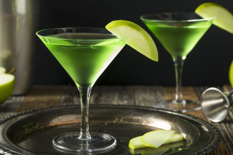 Two green Appletinis or apple martinis