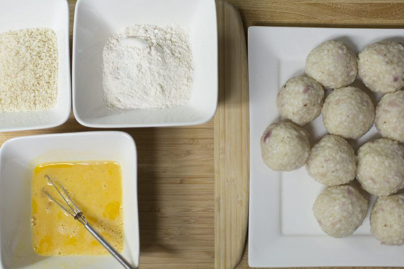 Arancini Fennel Salad Balls Breading Flour Egg Breadcrumbs Prep