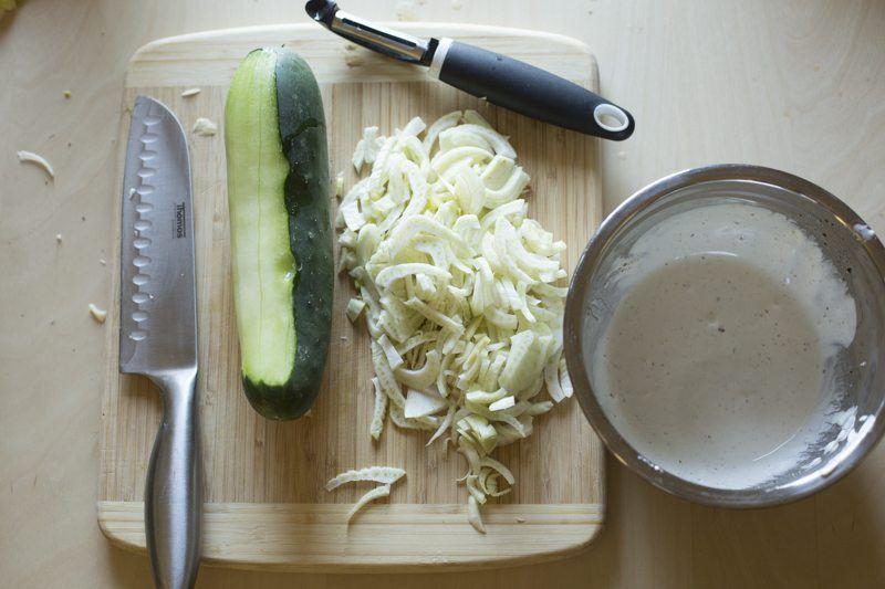 Arancini Fennel Salad Prep Cucumber Sliced Dressing Prep