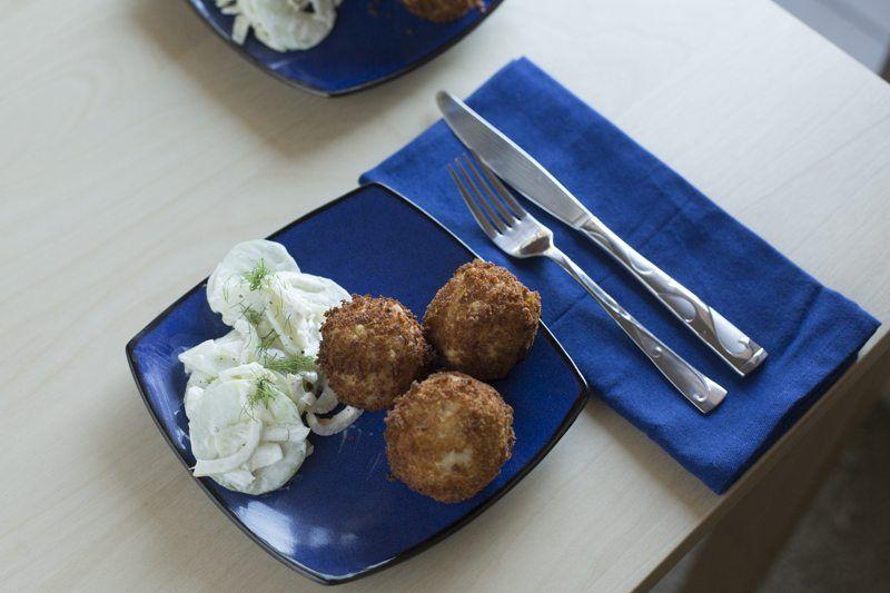 Arancini Fennel Salad Top Down Table Dinner Blue Plate Square Silverware