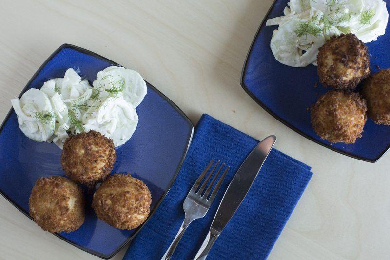 Arancini Fennel Salad Two Plates Dinner Blue Plates Silverwate