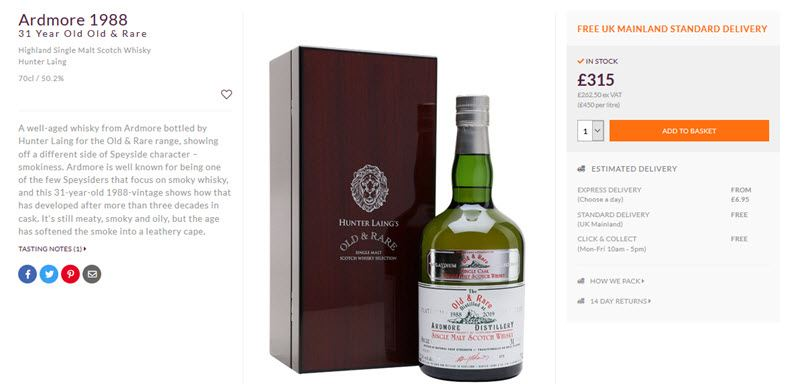 A bottle of Ardmore 1988 with a description and shipping details