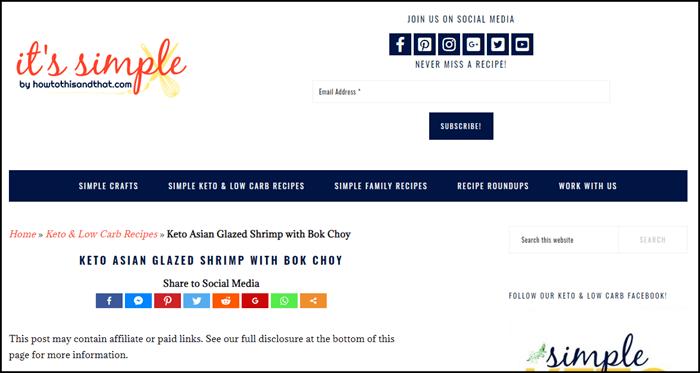 Website screenshot from It's Simple