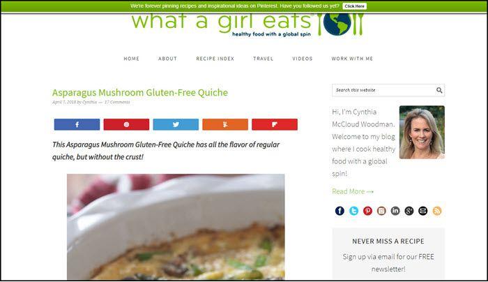 Website screenshot from What a Girl Eats.