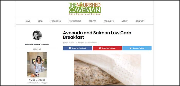 Website screenshot from The Nourished Caveman