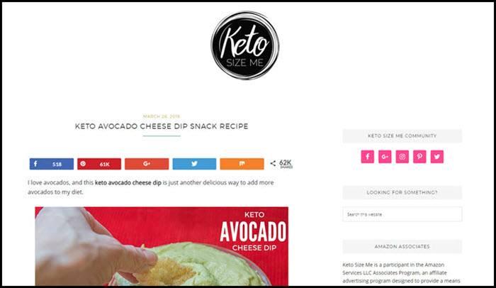 Website screenshot from Keto Size Me