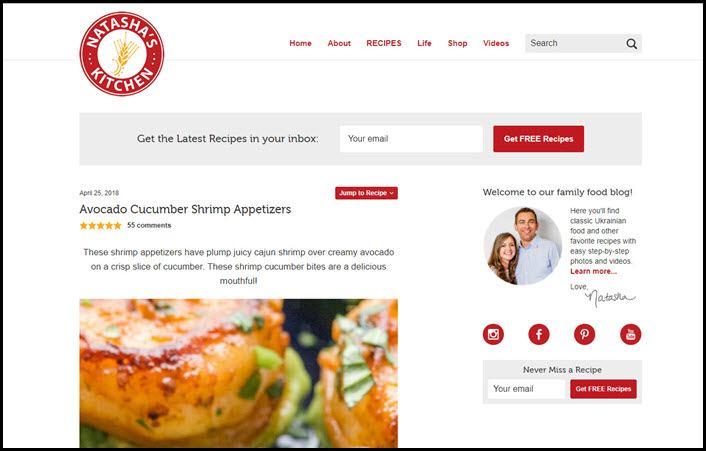 Website screenshot from Natasha's Kitchen