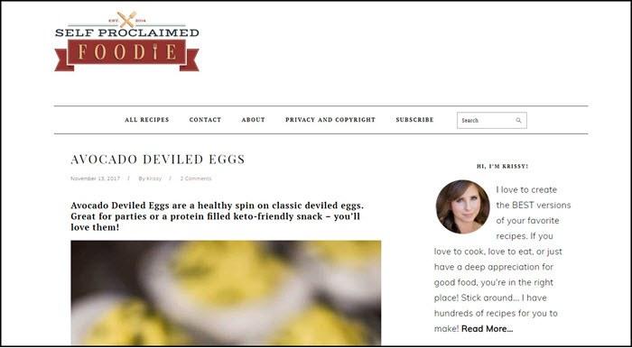 Website screenshot from Self Proclaimed Foodie