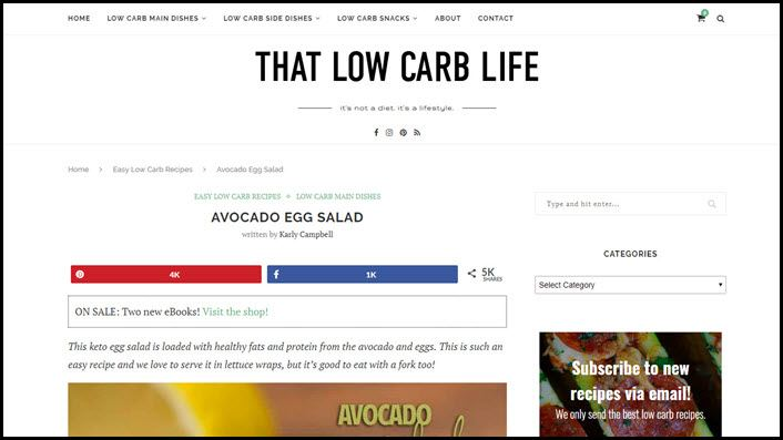 Website screenshot from That Low Carb Life