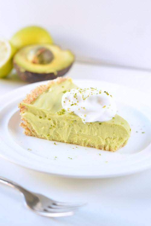 A piece of avocado key lime pie on a plate.