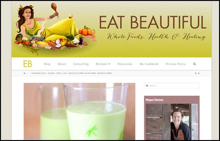 Website screenshot from Eat Beautiful