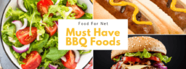 Three types of BBQ foods, including a salad, hot dogs, and a hamburger