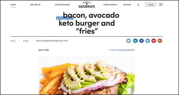 Website screenshot from Simply Goodfats
