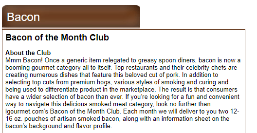 Text about bacon of the month club
