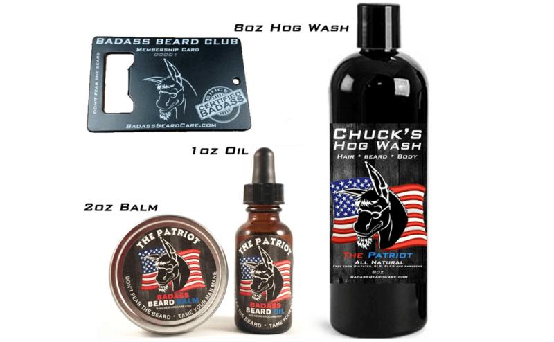 Badass Beard Club Website Screenshot showing the various products like beard wax and beard oil