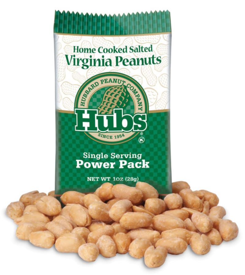 Single Serving bag pf peanuts.  The bag is Green at the top and bottom with a whitish strip in the middle that states Home Cooked Salted Virginia Peanuts - The middle of the bag states Hubbard Peanut Company - Hubs Single Serving Power Pack.  At the base of the bag are a small pile of peanuts