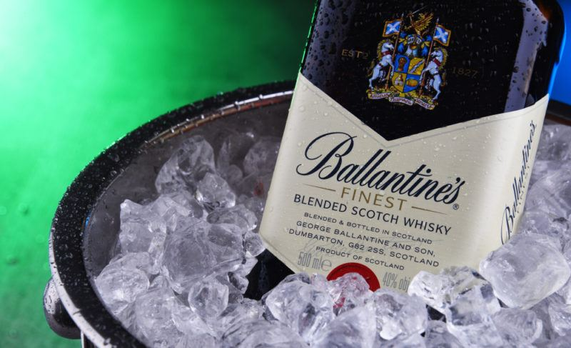 Ballantine's 17-years-old whiskey in a bucket of ice