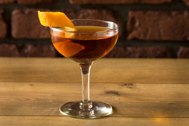 A bamboo cocktail with an orange twist