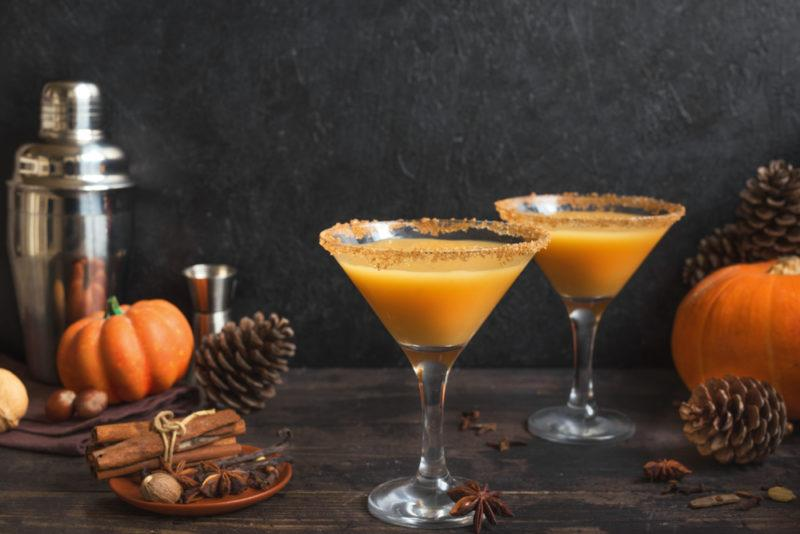 Two pumpkin spice martinis