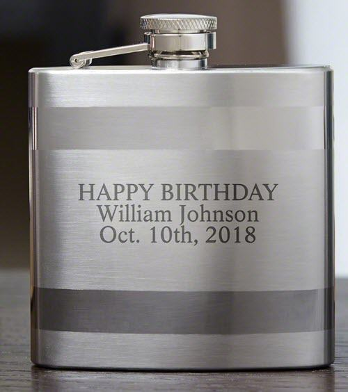 Banded stainless steel flask with engraving