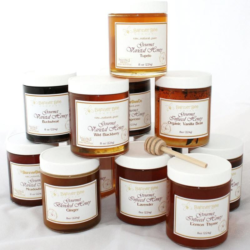 A stack of honey jars from BannerBee Honey