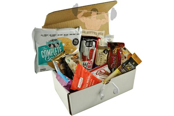 A white box with a selection of protein bars