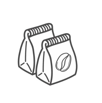 A stylized image of two coffee bags