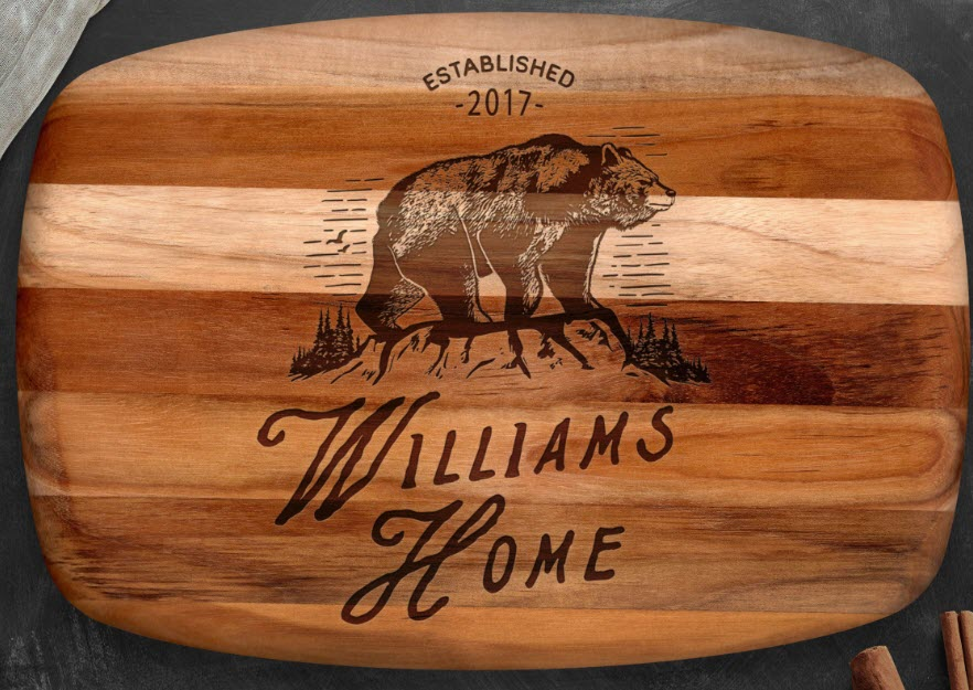 A bear engraved on a cutting board