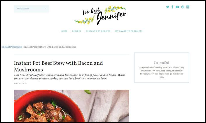 Website screenshot from Low Carb with Jennifer