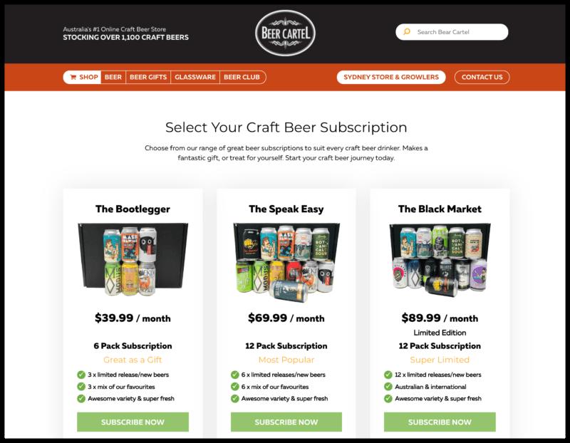 Beer Cartel's Beer of the Month Club website screenshot