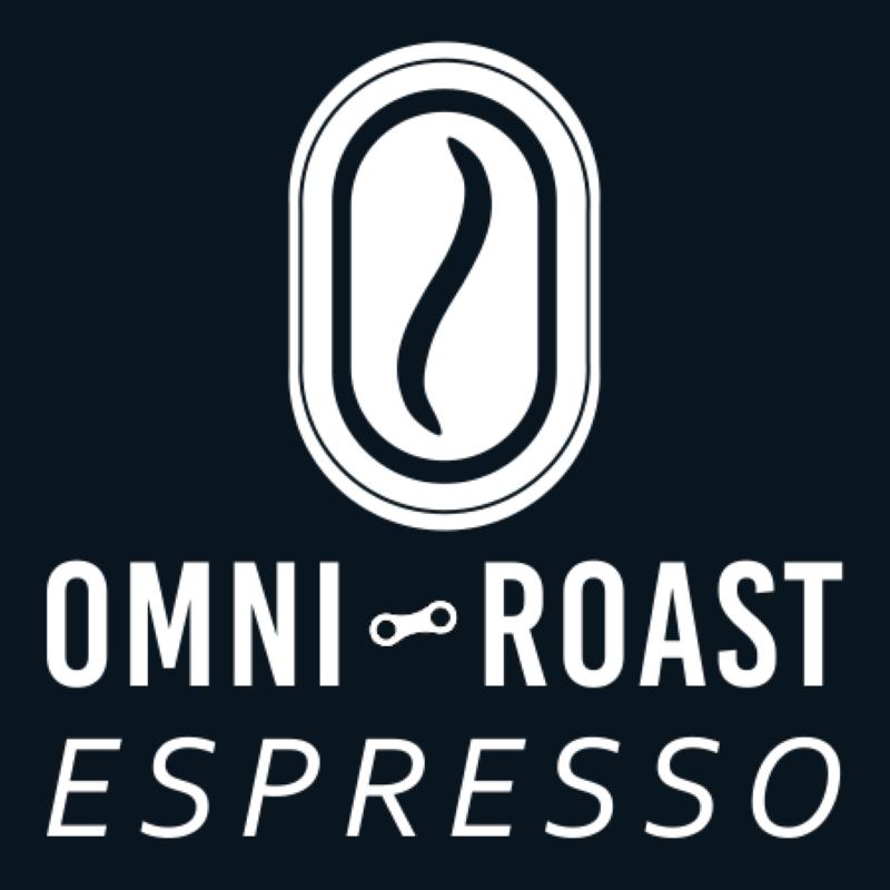 Black and white logo that says Omni Roast Espresso with a silhouette of a coffee bean