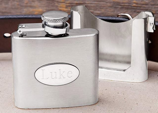 Small stainless steel flask in front of a belt holder