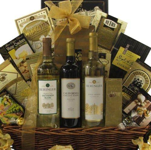 Golden themed gift basket