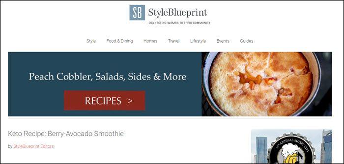 Website screenshot from Style Blueprint