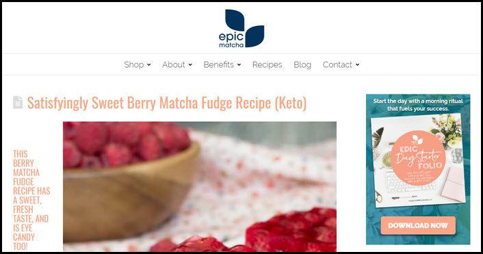 Website screenshot from Epic Matcha