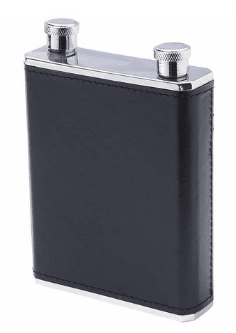 A black leather flask with two openings