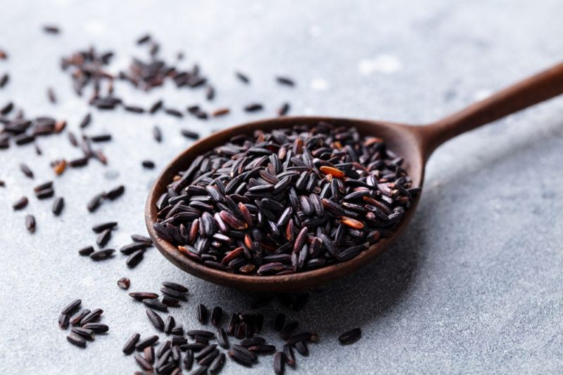 Black rice on a spoon against a gray background