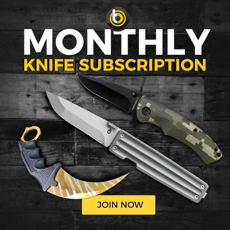 Dark wood background with the blade city logo on top then below that it says Monthly Knife Subscription with three different knife styles laid out below and at the bottom a yellow text box that says join now
