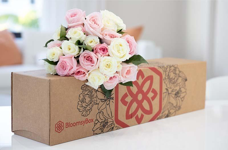 Bloomsy Box with pastel roses on top