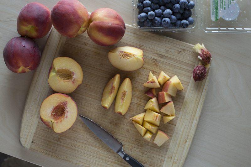 Blueberry Peach Crumble Knife Prep Cutting Board