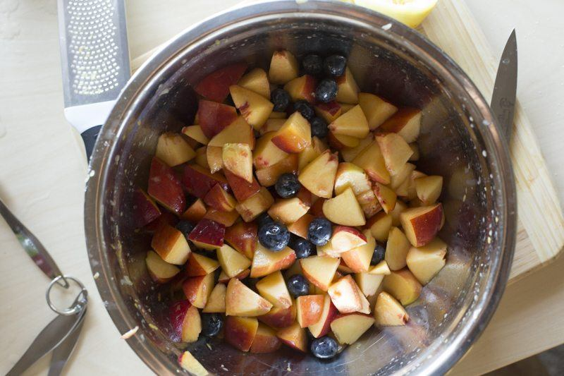 Blueberry Peach Crumble Prep Top Down Fruit Cut Knife