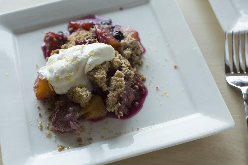 Blueberry Peach Crumble Vanilla Bean Whipped Ricotta Detail Two Plates Angle Square Fork