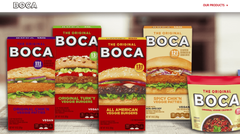 A few different containers of Boca burger patties