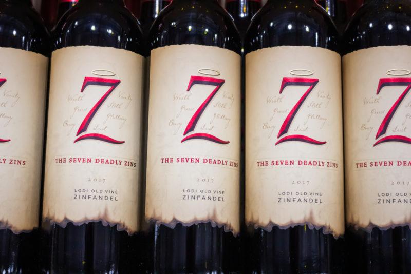 A selection of bottles of 7 Deadly Sins Zinfandel