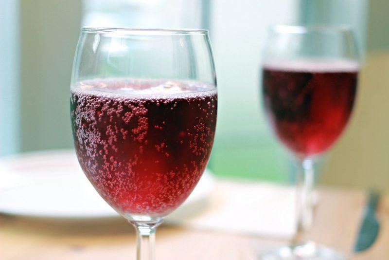 Two glasses of sparkling red Brachetto d'Acqui wine