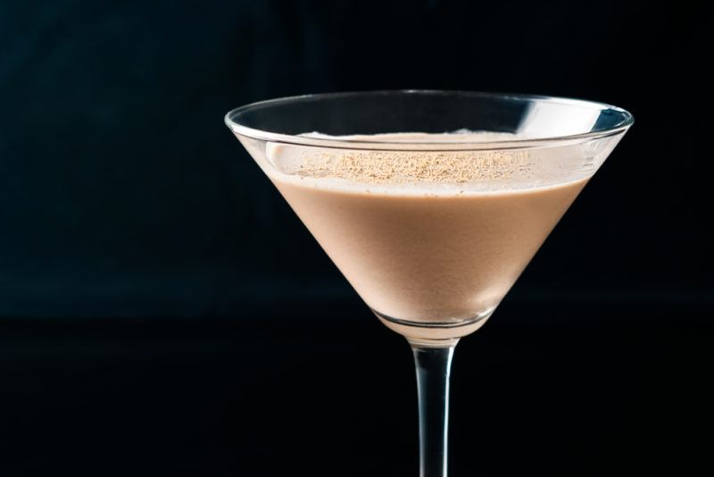 A brandy alexander in a cocktail
