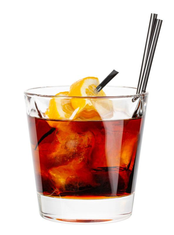 A glass of Brave Bull cocktail isolated on white