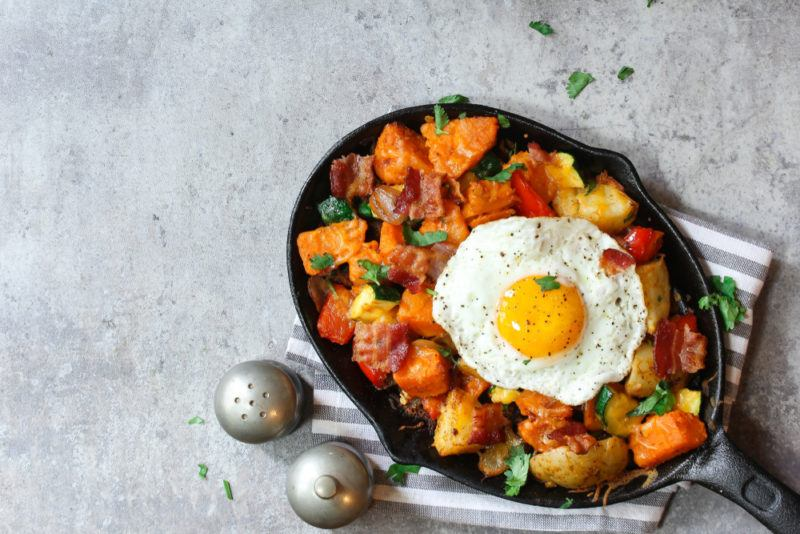 A sweet potato has with egg
