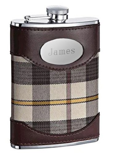 Flask with brown leather and plaid fabric