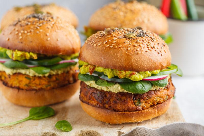 Four vegan burgers that use beans and other vegetables as the ingredients